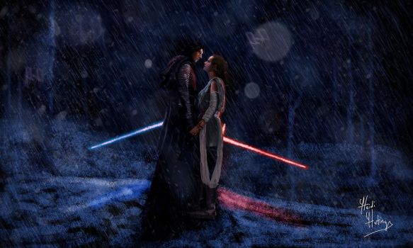 My Drawing of Kylo Ren and Rey by heidihastings