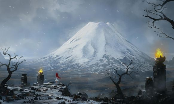 Red and Snow - speed paint by JJcanvas