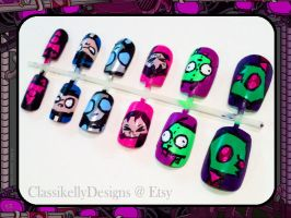 Invader Zim Nail Art by Classikelly
