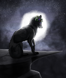 [Art Trade] Midnight Wolf by Cylithren