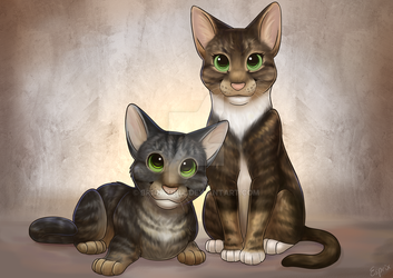 Cat Pet Portrait, Max and Simba by Brontonia