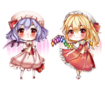 Remilia and Flandre Scarlet (Chibi) by Artie-chii