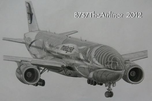 Malaysia Airlines Boeing 777 Heliconia Drawing by A320TheAirliner