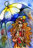 Autumn in a raincoat. Allegory by zoiocen