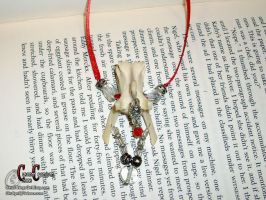 Red Ribbon Vertebrae Necklace by SkullGrrl