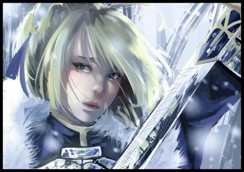 Painting style training #4 saber in the snow by mikeezen