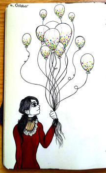 Inktober Day 4 - Balloon Confetti by frohzen-air