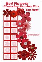 Red Flowers Photoshop Brushes Plus Cutouts By  by ibjennyjenny