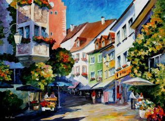 Sunny Meersburg, Germany by Leonid Afremov by Leonidafremov