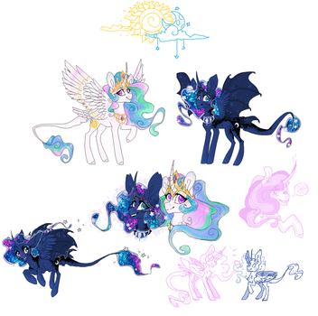 Celestia and Luna [funart] by Unknown-Artist99