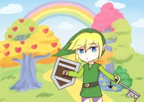 Link With Keyblade In The Forest Of Feelings by YuuSe-desuzo