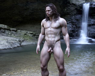Conan, before bathing by achillias-da