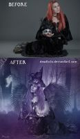 BEFORE-AFTER of Lilac Witch by LaVolpeCimina