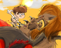 Dipper vs a manticore by PurplePassion3