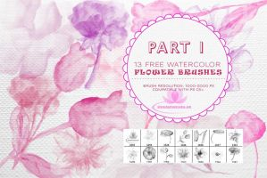 13 Free Watercolor Flower Brushes for Photoshop by fiftyfivepixels