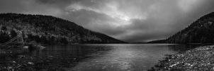 Jordan Pond Panorama bw by screenname911