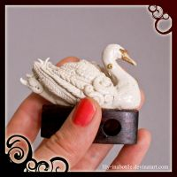 Polymer clay swan by lily-inabottle