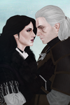 [Commission] Yennefer and Geralt by elyhumanoid