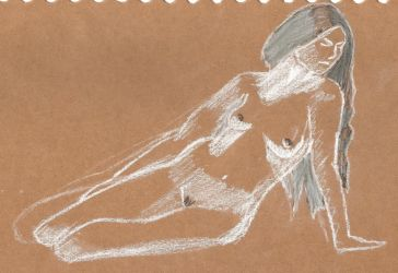 Nude on brown paper by juani-hokshana