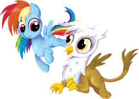 My Little Pony - Rainbow Dash and Gilda by kaizerin
