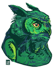 Green Owl by FionaCreates