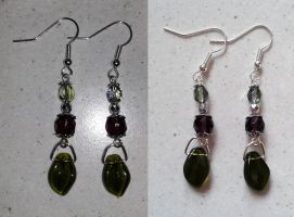 green and lilac glass pearl earrings by syn-O-nyms