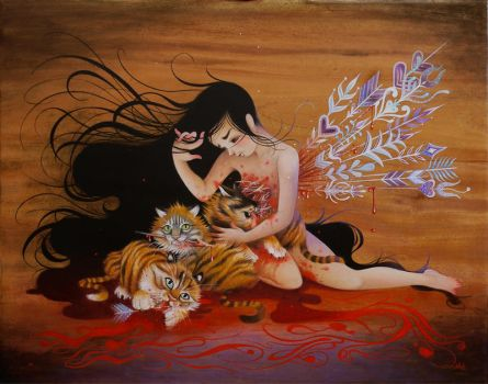 Girl and Tiger Cubs by frecklefaced29