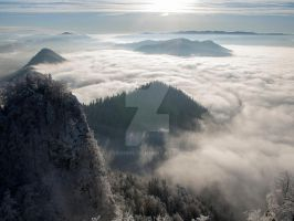 Foggy, shadowy mountains by 75ronin