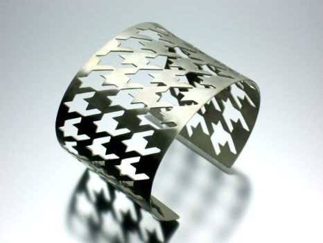 Houndstooth Silver Cuff by Amazon-Butterfly