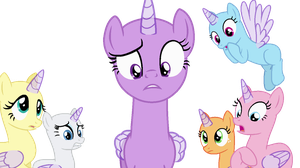 MLP main cast looking frightened Base by CookieChanS2