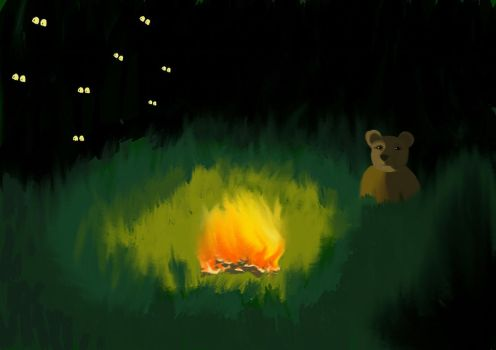 Winnie the Pooh in a night hike for honey. by KAY-painting