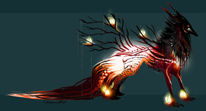 Forest of Fateful Fire QuillDog Deity by MischievousRaven