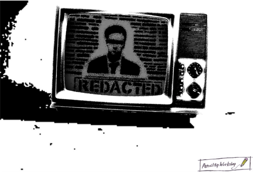 Redacted- Black And White TV High Contrast by PenciltipWorkshop