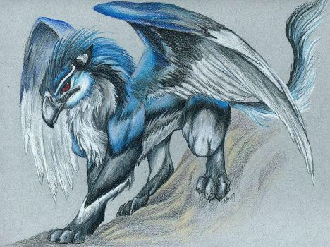 Azo, the Blue Gryphon -- 1999 by caramitten