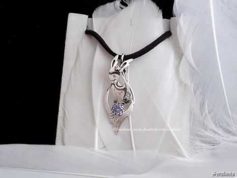 'Sylveon' handmade sterling silver pendant by seralune