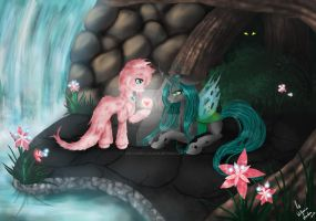 Fluffle Puff and Queen Chrysalis: Love by Wilvarin-Liadon