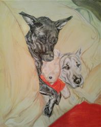 Dogs and Pooh Painting by JesseVanSciver