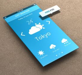 Just Weather for iPhone 5 Retina Ready - FREE PSD by khaledzz9