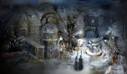 children snow night town - my old drawing by creapicform