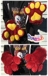 (FOR SALE) Maroon Fursuit Handpaws Yellow Pawpads by TECHNlCOLOUR