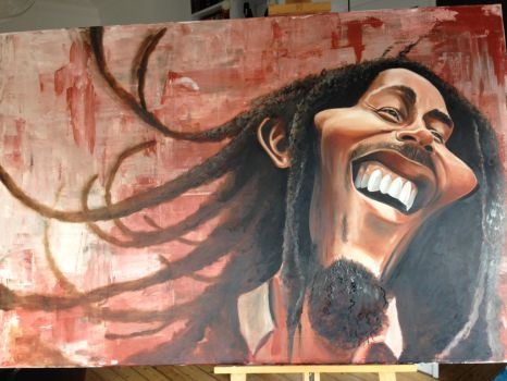 Bob Marley Caricature painting by crazedude