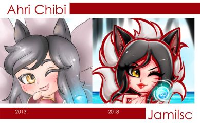 Ahri Chibi 2013 vs 2018 by JamilSC11