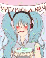 Happy birthday Miku! by wolfdrawing2