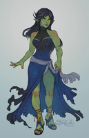Half-Orc Lady by AmberHarrisArt