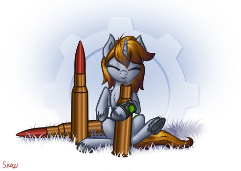 Littlepip and bullets by SkorpionLetun