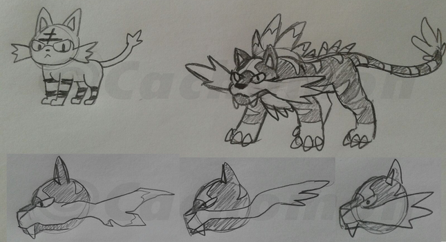Litten's Final Stage [Early Concept Art] by Cachomon