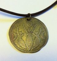 Triple Goddess Etched Brass Necklace by MoonLitCreations