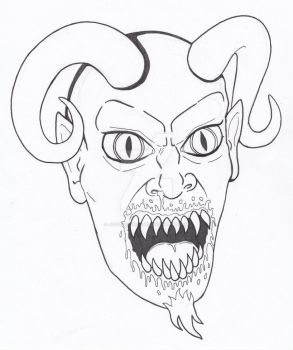 Demon Portrait Quick Sketch and Ink