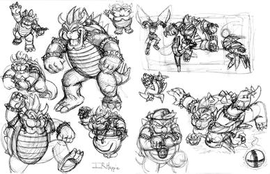 Bowser sketches by IRHappie