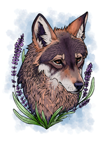 En Fleurs- Red Wolf by dog-child